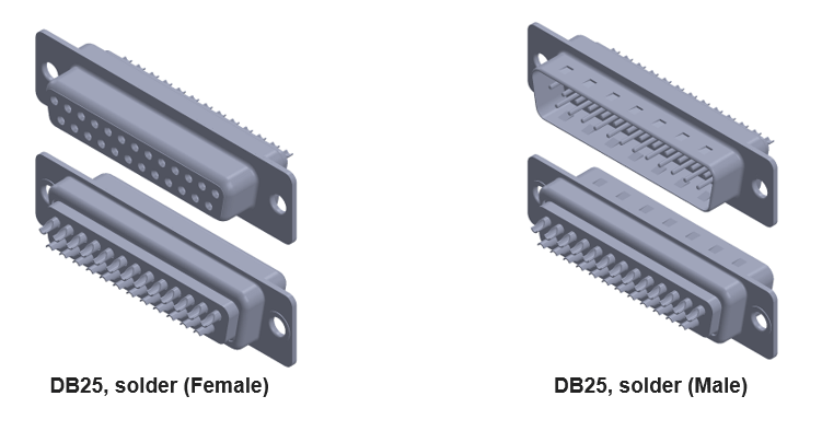db25 connector with soldered contacts