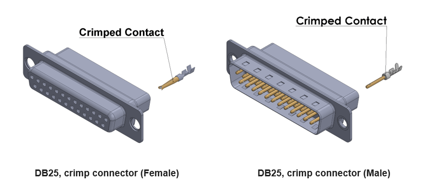 db25 connector with straight termination