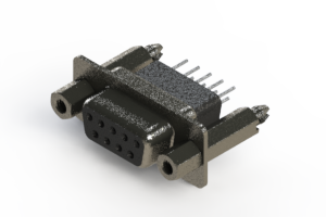 628-009-651-057 - Vertical Metal Body D-Sub Connector