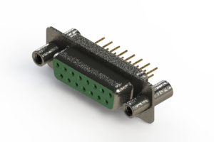 628-M15-221-GN4 - Vertical Machined D-Sub Connector