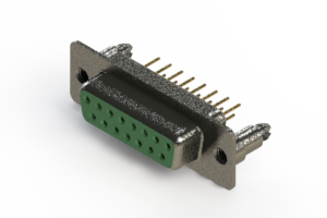 628-M15-221-GN5 - Vertical Machined D-Sub Connector