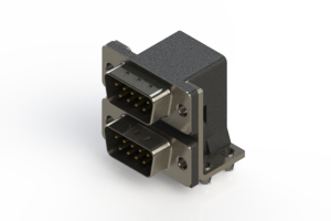 661-009-364-044 - Right-angle Dual Port D-Sub Connector