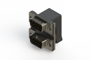 661-009-664-007 - Right-angle Dual Port D-Sub Connector