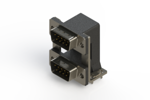 661-009-664-030 - Right-angle Dual Port D-Sub Connector
