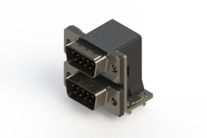 661-009-664-034 - Right-angle Dual Port D-Sub Connector