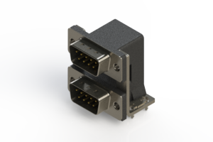 661-009-664-037 - Right-angle Dual Port D-Sub Connector