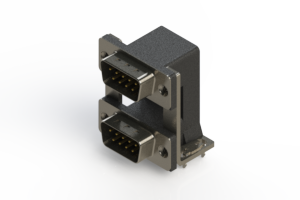 661-009-664-038 - Right-angle Dual Port D-Sub Connector
