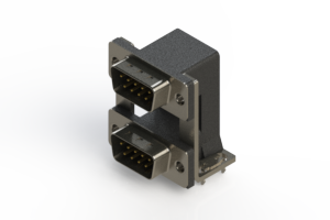 661-009-664-03A - Right-angle Dual Port D-Sub Connector