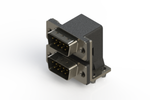 661-009-664-042 - Right-angle Dual Port D-Sub Connector