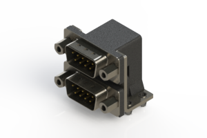661-009-664-043 - Right-angle Dual Port D-Sub Connector