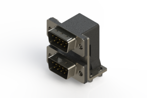 661-009-664-047 - Right-angle Dual Port D-Sub Connector