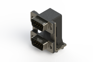 661-009-664-04C - Right-angle Dual Port D-Sub Connector
