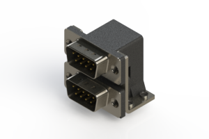 661-009-664-052 - Right-angle Dual Port D-Sub Connector