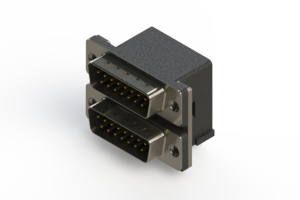 661-015-264-001 - Right-angle Dual Port D-Sub Connector