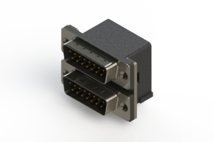 661-015-264-002 - Right-angle Dual Port D-Sub Connector