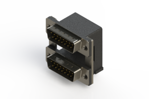 661-015-264-008 - Right-angle Dual Port D-Sub Connector