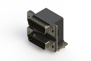 661-015-264-035 - Right-angle Dual Port D-Sub Connector