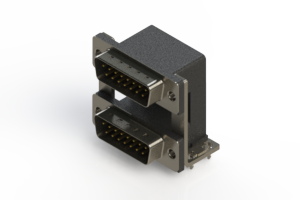 661-015-264-03A - Right-angle Dual Port D-Sub Connector