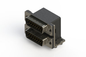661-015-264-042 - Right-angle Dual Port D-Sub Connector