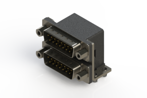 661-015-264-043 - Right-angle Dual Port D-Sub Connector