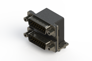 661-015-264-046 - Right-angle Dual Port D-Sub Connector