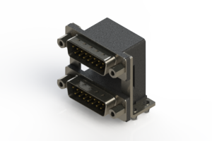 661-015-264-049 - Right-angle Dual Port D-Sub Connector