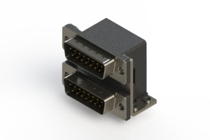 661-015-264-057 - Right-angle Dual Port D-Sub Connector