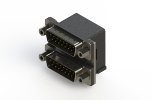 661-015-364-006 - Right-angle Dual Port D-Sub Connector