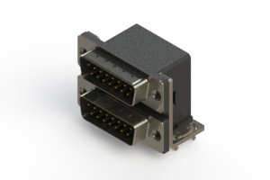 661-015-364-031 - Right-angle Dual Port D-Sub Connector