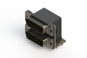 661-015-364-032 - Right-angle Dual Port D-Sub Connector