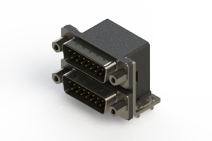 661-015-364-033 - Right-angle Dual Port D-Sub Connector
