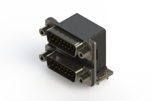 661-015-364-036 - Right-angle Dual Port D-Sub Connector