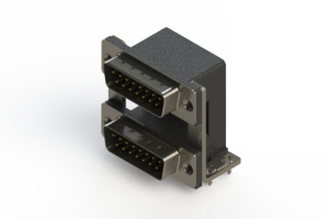 661-015-364-038 - Right-angle Dual Port D-Sub Connector