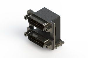 661-015-364-039 - Right-angle Dual Port D-Sub Connector