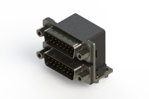 661-015-364-043 - Right-angle Dual Port D-Sub Connector
