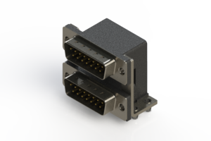 661-015-364-047 - Right-angle Dual Port D-Sub Connector
