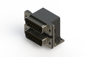 661-015-364-052 - Right-angle Dual Port D-Sub Connector