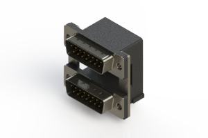 661-015-664-000 - Right-angle Dual Port D-Sub Connector