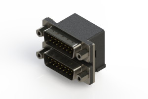 661-015-664-003 - Right-angle Dual Port D-Sub Connector