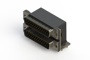 661-025-264-034 - Right-angle Dual Port D-Sub Connector