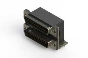 661-025-264-035 - Right-angle Dual Port D-Sub Connector