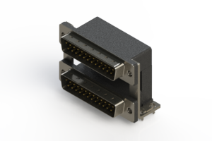 661-025-264-03A - Right-angle Dual Port D-Sub Connector