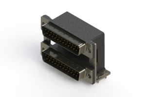 661-025-264-03C - Right-angle Dual Port D-Sub Connector