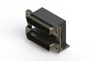 661-025-264-05A - Right-angle Dual Port D-Sub Connector