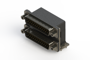 661-025-364-036 - Right-angle Dual Port D-Sub Connector