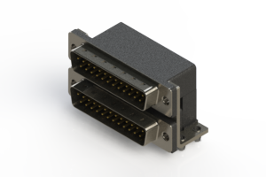 661-025-364-044 - Right-angle Dual Port D-Sub Connector