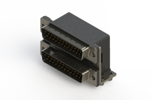 661-025-364-047 - Right-angle Dual Port D-Sub Connector