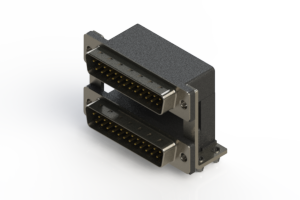 661-025-364-04A - Right-angle Dual Port D-Sub Connector