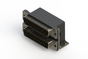 661-025-364-052 - Right-angle Dual Port D-Sub Connector