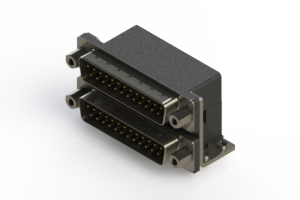 661-025-364-053 - Right-angle Dual Port D-Sub Connector